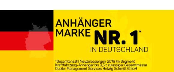 Humbaur ook in 2019 het meest verkochte aanhangwagenmerk in Duitsland