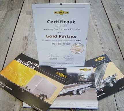 Certificaat dat Aanhangcars van Humbaur ontvangen heeft als Gold Partner