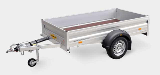 Humbaur enkelas bakwagen met aluminium borden