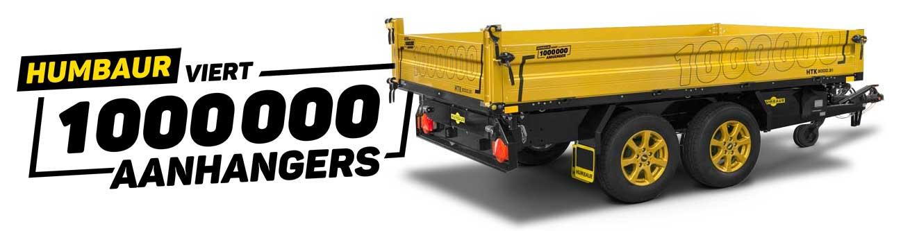 Humbaur HTK kipper met zwart chassis en gouden borden ter gelegenheid van de bouw van de 1 miljoenste Humbaur aanhanger
