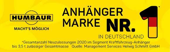 Humbaur ook in 2020 het meest verkochte aanhangwagenmerk in Duitsland