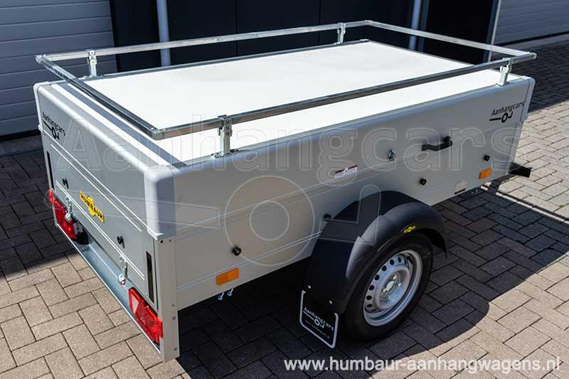 Humbaur bagagewagen aluminium opbouw met deksel en reling