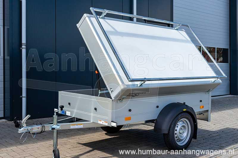 Vooraanzicht Humbaur bagagewagen met geopend deksel